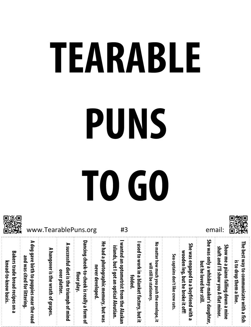 tearable puns poster 3 tearable puns to go   tearable puns